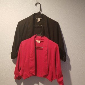 Body Central, 2 crop top cardigans, Black & Red